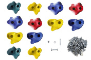 JGS 12 Premium Quality Large Rock Climbing Holds for Kids with Longer 5.1cm Mounting Hardware for Wood Playset Swing Set, Indoor Outdoor Climbing Wall, Children Playground