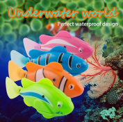 Enshey Robo Fish Toy Robotic Swimming Fish 4 pcs Battery Operated Electric Swimming Diving Floating Water Activated Clownfish Robotic Fish in Water Magical Electronic Toy Kids Children Gift