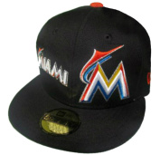 Miami Marlins Fitted Size 7 3/8 Double Logo Wham Collection Black Hat Cap - Gold Sticker Attached