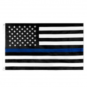 Thin Blue Line Flag 0.9m x 1.5m Nylon Embroidered Stars Sewn Stripes Blue Line USA Banner Flags for Police and Law Enforcement Officers …