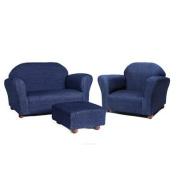 Keet Roundy Denim Children's Chair, Sofa and Ottoman Set, Blue