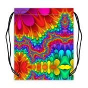 Rainbow Meditation Tie Dye Basketball Drawstring Bags Backpack, Sports Equipment Bag - 42cm (W) x 49cm (H), Twin-sided Print