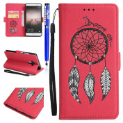FESELE Huawei Mate 9 Case Bling Bling Sparkling PU leather Cover Beautiful Wind Chime Painting Pattern PU Leather Bookstyle Wallet Case Shock Resistant Anti Slip Scratch Resistant Magnetic Closure with Stand Function PU Leather Wallet Flip Cover Sleeve ..