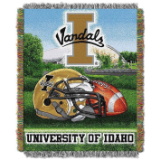 NCAA Idaho Vandals Throw Blanket, 48x60, Gold And Silver, Sports & Collegiate Pattern, Modern Style Polyester Material, Machine Washable, Plain Weave, Team Logo, Perfect For Living Room, Bed Covering
