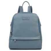 BOSTANTEN Women Leather Backpack Purse Satchel Shoulder School Bag Rucksack for College Blue-grey Large