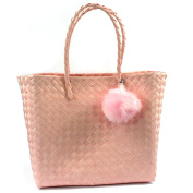 Large Basket Style Water Resistant Beach Bag with Pom Pom Keyring Pink Lime or Grey