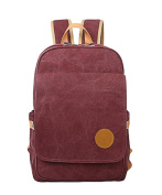 WanYang Trendy Casual Canvas Backpack Vintage Travel Rucksack School Bag Fits up to 38cm Laptop