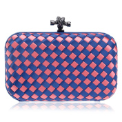 Flada Girls Hand-made Woven Evening Clutch Hardcase Purse Party Bags Pink Blue