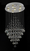 """WENSENY Simple Crystal Chandelier Lights LED Droplets Crystals Lighting with 6 Lights H40"""" X W20"""""""