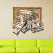 XMJR D (money) wall sticker wallpaper bedroom living room TV sofa setting HD self-adhesive paper without leaving any glue specification 630*580mm