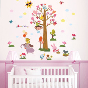 Rainbow fox kids animal wall stickers tree wall stickers owl stickers monkey decal