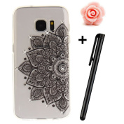 Samsung Galaxy S7 Case,Samsung Galaxy S7 Cover,3D Bling Glitter Soft Case For Samsung Galaxy S7,TOYYM Ultra Slim Clear Transparent Crystal Black Flower Pattern Case Bumper TPU Silicone Back Case Cover For Samsung Galaxy S7