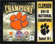 NCAA Clemson Tigers 2016 Stat Plaque National Champions Deluxe Frame, 30cm x 38cm , Black