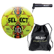 Select Numero 10 Ball Pack Numero 10 Soccer Ball(Size 5) with Sack Pack & Soccer Ball Hand Pump, Yellow