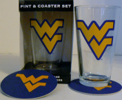 NCAA Officially Licenced University of West Virginia Mountaineers Pint and Coaster Set