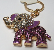 Stunning ELEPHANT Key Chain with Purple & Clear Crystal Rhinestones.Gold Metal Key Ring.Celebrate Your Love for this Precious Animal!