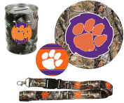 "Clemson Tigers Hunter Pack Set of Large Round RealTree Camo Magnet, 4"" Decal, RealTree Camo Lanyard, RealTree Camo Tin Money Bank"