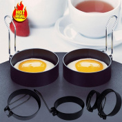Masrin Stainless Steel Egg Ring Cooking Tool with Handle Non Stick Round Cooking Mould 2Pcs