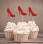 Darling Souvenir, High Heel Bridal Shower Cupcake Toppers, Wedding Birthday Party Dessert Decorations - Pack Of 20