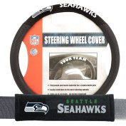 Seattle Seahawks NFL Steering Wheel Cover and Seatbelt Pad Auto Deluxe Kit