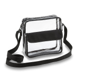 Clear See Through Cross-Body Messenger Bag w Adjustable Strap, NFL Stadium Approved Clear Purse