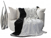 Double Sided Blanket Two-Tone Design - Fur Blanket Sofa Throw Blanket - Exclusive by Brand Sseller, Polyester, black/white, 150 x 180 cm