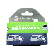 NFL Seattle Seahawks Elastic Rubber Wrist Band (Set of 2), One Size, Multicolor