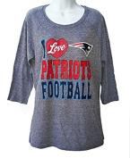 I Love New England Patriots Football Women's Size X-Large XL 3/4 Heathered Charcoal Grey Shirt- Ladies