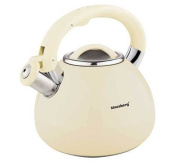 3 Litre Whistling Kettle Water Jug Kettle Stainless Steel Whistling Kettle, Yellow, Beige Ivory
