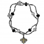 NFL New Orleans Saints Women's Crystal Bead Bracelet, Stretch