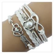 Doinshop New Infinity Chain Cuff Jewellery Antique Leather Charm Bracelet