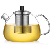 Ecooe Glass Teapot 1500 ml with Stainless Steel Infuser & Lid Pyrex Glass Teapots Stovetop Safe