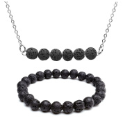 JSDDE Natural Lava Rock Stone Healing Energy Crystal Gemstones Beads Essential Oil Necklace & Lava Stone Stretch Bracelet - Black