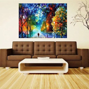Easy DIY Paint by Number Sets with Brushes & Paints on Canvas Nature Landscape Paintworks Unique Christmas Gifts for Adults Beginners Romantic Street Lovers Walks In the Street 41cm x 50cm Frameless