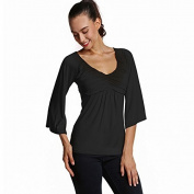 Solid colour sleeve deep v-neck loose folds of seven trumpet sleeves t shirt