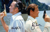 LIMITED EDITION CHRISTOPHER LEE ROGER MOORE JAMES BOND SIGNED PHOTOGRAPH + CERT PRINTED AUTOGRAPH