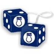 Rearview Mirror Fuzzy Dice - Nfl Football - Indianapolis Colts by Freemont Die
