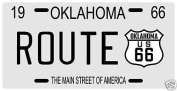 Route 66 Highway 1966 Oklahoma Metal Licence Plate