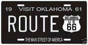 Route 66 Highway 1961 Oklahoma Metal Licence Plate