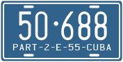 Cuba Pre-revolution 1955 Replica Metal Licence Plate