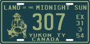 Yukon Territory 1954 Replica Metal Canadian Licence Plate