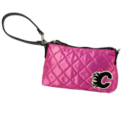 NHL Calgary Flames Pink Quilted Wristlet