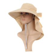 Women Outdoor Sport Hat Anti-UV Quick-drying Wide Brim Breathable Neck Face Flap Hat, Khaki
