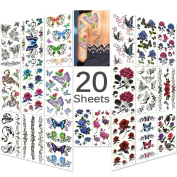 Lady Up 20 Sheets Mixed Style Body Art Temporary Tattoos Paper, Flowers, Roses, Butterflies and Multi-Coloured Waterproof Tattoo for Women, Girls or Kids, 90×190mm