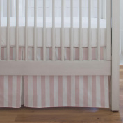 Carousel Designs Pale Pink Stripe Crib Skirt Single-Pleat 43cm Length - Organic 100% Cotton Crib Skirt - Made in the USA
