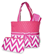 Ever Moda Pink Chevron Quilted Nappy Bag with Change Pad by Ever Moda