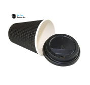 50 x 240ml BLACK Triple Ripple Paper Wall Disposable Tea Coffee Cappuccino Hot Drinks CUPS & BLACK LIDS