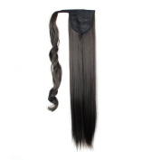 60cm 130g Straight Synthetic Wrap Around on Ponytail Clip in Hair Extensions Hairpiece Accessories for Girl Lady Woman