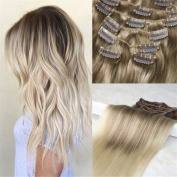 HairDancing 60cm 7Pcs 120Gram Human Hair Ombre Balayage Clip in Extensions Colour #8 Light Brown Fading to Bleached Blonde High Light Remy Full Head Clip in Extensions