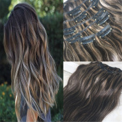 HairDancing 60cm 7Pcs 120g Balayage Clip in Extensions Piano Colour #2 Fading to Colour #27 Honey Blonde Clip Hair Extensions Human Hair Ombre Clip Extensions